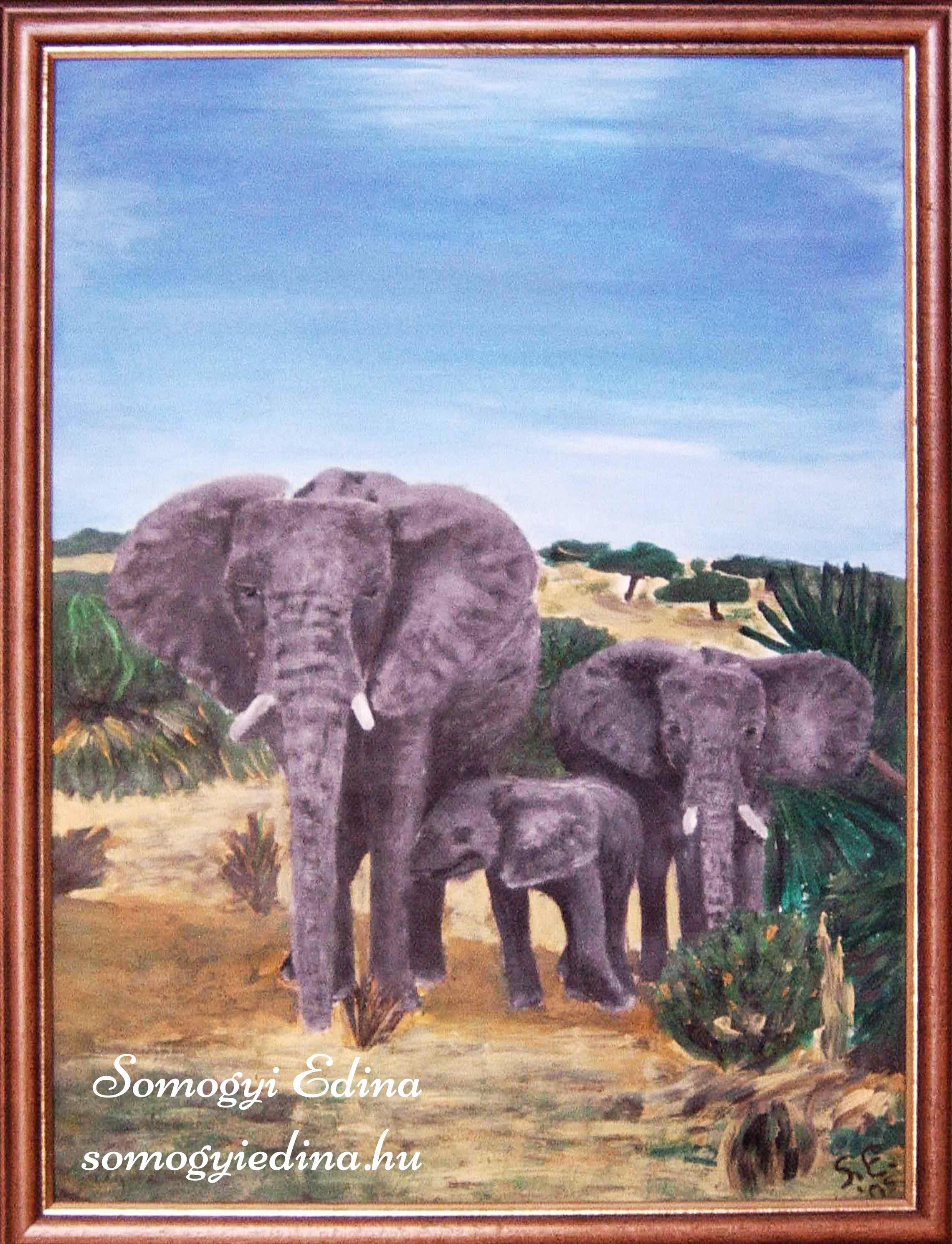 Elefántcsalád A4, akril faroston, 2005