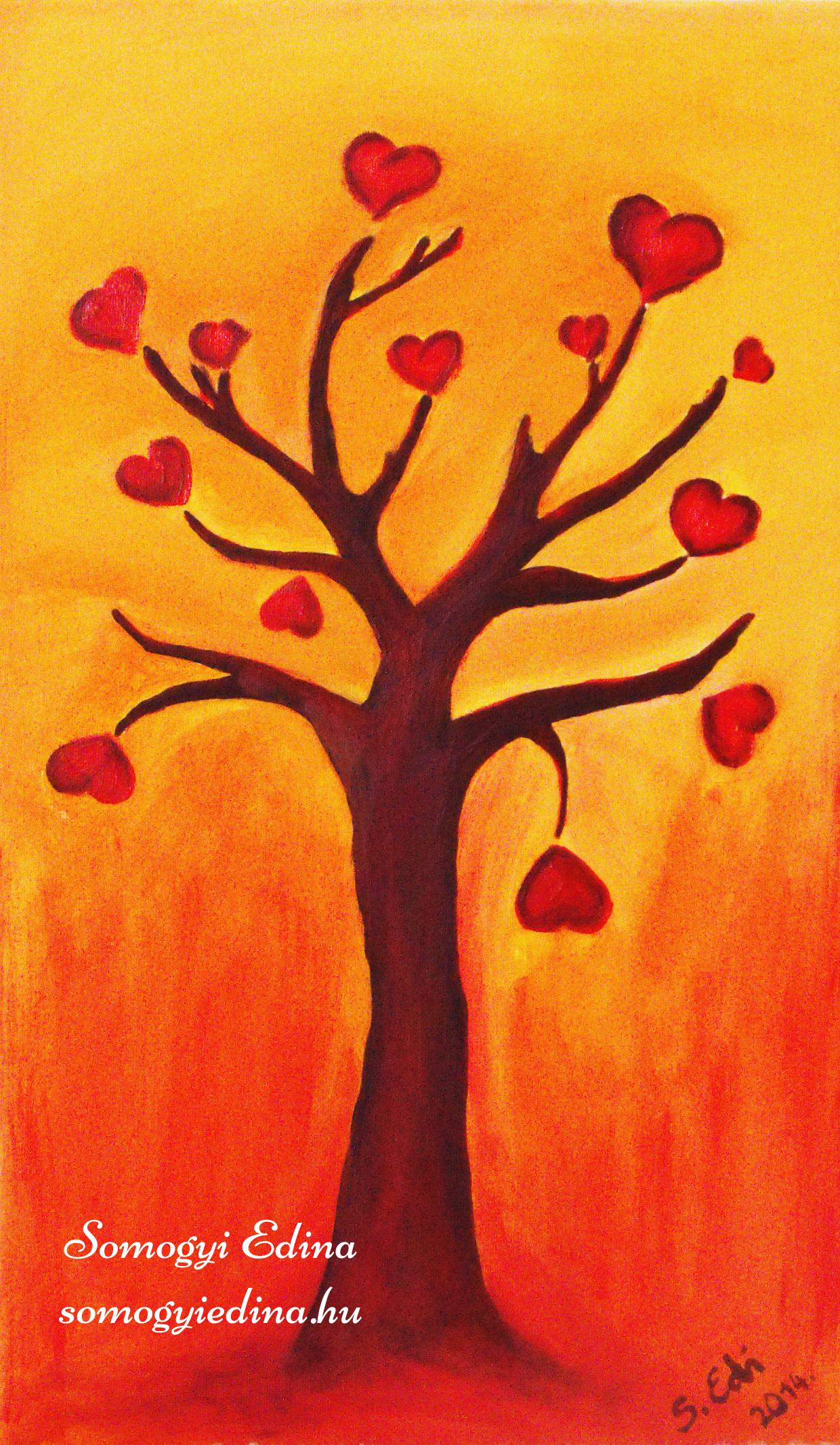 Szeretetfa 30 x 50 cm, akril vásznon, 2014